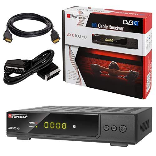 HB-DIGITAL Set: Opticum AX C100 HD Receiver für digitales Kabelfernsehen (HDMI, SCART, USB, SPDIF Koaxial, Mediaplayer) + HDMI Kabel mit Ethernet Funktion und vergoldeten Anschlüssen + SCART Kabel