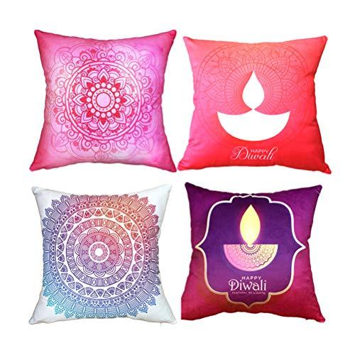 4 piezas funda de almohada Mandala Diwali Funda de cojín cuadrada de moda para sofá, coche, sala de estar, dormitorio