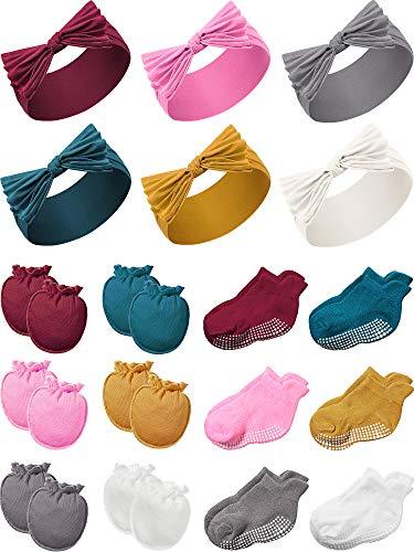 Geyoga 6 Diademas con Lazo de Nylon 6 Pares Mitones de Antiarañazos 6 Pares Calcetines de Tobillo Antideslizantes para Bebés (Vino Rojo, Rosa, Amarillo, Verde Balsklish, Blanco, Negro)
