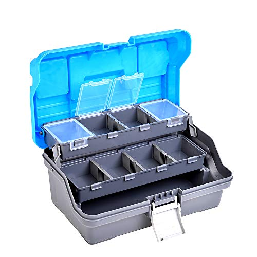 TRF Boîte de pêche, Portable 3 Couches de Poisson Boîtes d'accessoires avec poignée Pliable et Fixation Boucle - Léger et Durable - pour eaux Douces et salées