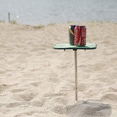 #WEJOY Tragbarer Strand Tisch Klapptisch Klein Tisch am Stand im Freien mit Rutschfester Oberfläche verhindert Verschütten und Verrutschen Leicht zu tragen
