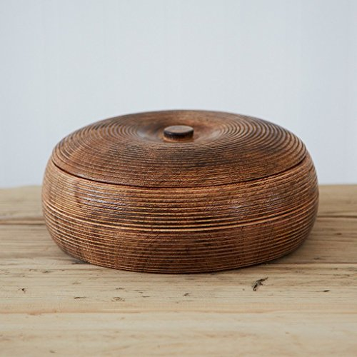 Paper High Large Carved Mango Wood Bowl with Lid 210 mm Diameter 90 mm Height