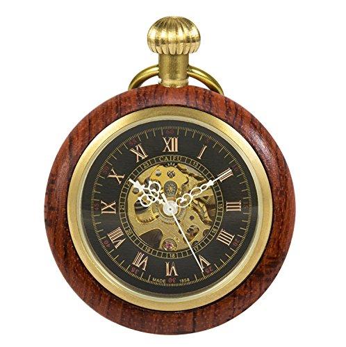 TREEWETO Reloj de bolsillo mecánico de madera con números romanos para hombres y mujeres