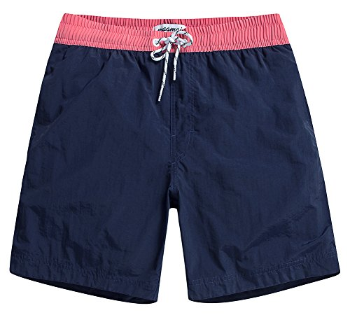 MaaMgic Mens Quick Dry Solid Swim Trunks with Mesh Lining Swimwear Bathing Suits,Navy-glm007,Large