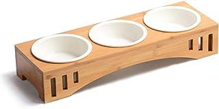 猫 犬用食器 陶器,猫食事台,ウォーターボウル,お皿3つあるタイプの餌入 ロゴな