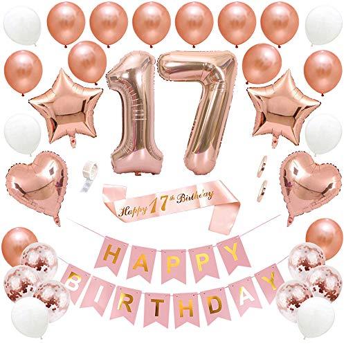 Ceqiny 17 Geburtstag Dekoration Happy Birthday Banner Alles Gute zum Geburtstag Banner Konfetti Helium Latex Stern Herz Folieballon Luftballons Geburtstag Schärpe Perfekte für Mädchen Frauen, Roségold