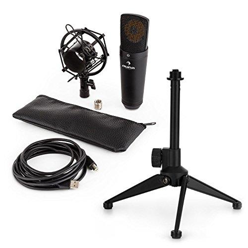auna MIC-920B - Mikrofon-Set V1, USB Großmembran-Mikrofon + Mikrofon-Tischständer, Nierencharakteristik, Mikrofonspinne, Plug & Play, dreibeinkonstruktion, Höhenverstellbar 12-19,5 cm, schwarz