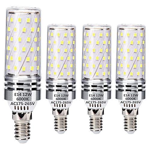 E14 LED Maíz Bombillas 12W Blanco Frío 6000K Equivalente a 100W Halógeno Bombillas, Pequeña Edison Tornillo LED Ligero Bombillas, sin parpadeo, sin atenuación, 1400LM, CA 230V, paquete de 4