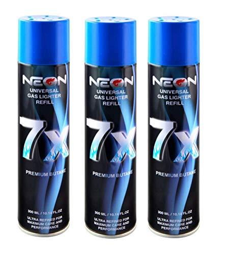 3 Cans NEON 7X Butane Refill Fuel Fluid Lighter Ultra Refined 7 Times...