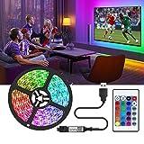Tira LED TV 2M,5050 Tiras LED USB Impermeable con Control Remoto,16 RGB Colores y 4 Modos, Retroiluminacion LED de TV para Cine en Casa,HDTV/PC Monitor (40-60 Pulgada)