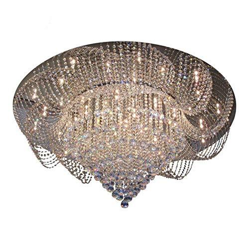 Candelabro de cristal de lujo para sala de estar Diseño floral Montaje empotrado Lámpara LED para el hogar Moderno LED Lustres De Cristal Luz fría (6000K) Dia80 H42cm