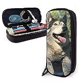 Wolf Husky Dog Outdoor Estuche para lápices Estuche para bolígrafos de gran capacidad Estuche para maquillaje Bolsillos de papelería duraderos para estudiantes con doble cremallera