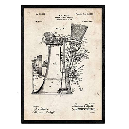 Nacnic Poster con patente de Maquina de coser escobas. Lámina con diseño de patente antigua en tamaño A3 y con fondo vintage