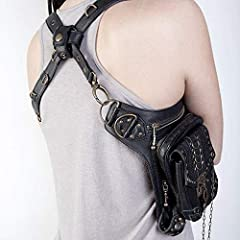 Malayas Steampunk Bag,Waist Bag/Shoulder Bag/Vintage Leather Shoulder Bag/Leg Bag Gothic Unisex, Black #4