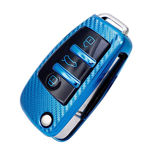 Funda para llave de coche, suave TPU para llave de coche, funda protectora para llave de coche, compatible con Audi A1 A3 A4 A5 Q7 A6 C5 C6 Car Holder Car Smart Remote, A, azul