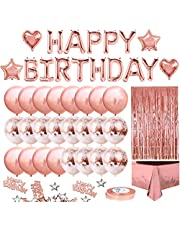 Rose Gold Birthday Party Decoration, Happy Birthday Banner, Rose Gold Fringe Curtain, Foil Tablecloth, Heart Star Foil Confetti Balloons and 10g Table Confetti for Birthday Party