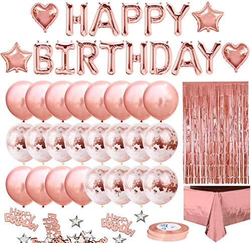 Globos de Cumpleaños Decoracione - Feliz Cumpleaños Globos Oro Rosa Metalicos para Fiesta - Kits de Globos Confeti de Aluminio con Manteles, Lentejuelas, Cortinas de Metálica -...