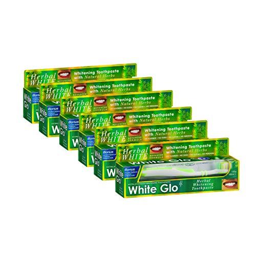HERBAL WHITE - White Glo KIT pulizia dei denti con dentifricio sbiancante naturale, spazzolino e scovolini (6 confezioni)