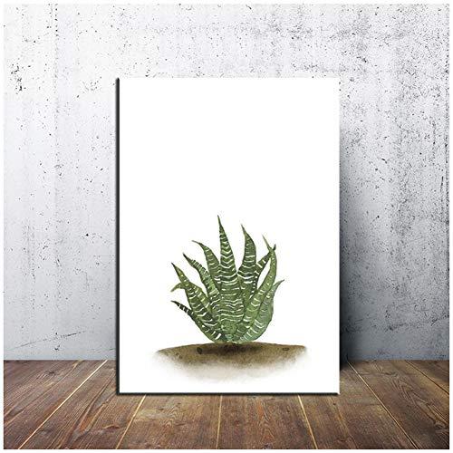 sjkkad kunstdruk plantenblad kunstdruk Scandinavisch linnen schilderij Moderne kunstdruk groene kunst wandafbeeldingen voor de woonkamer Poster -60x80cm zonder lijst