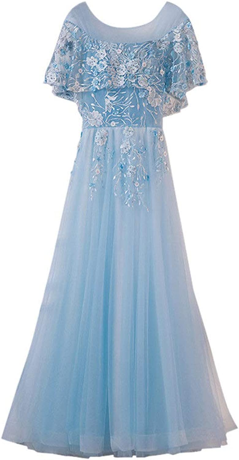Drasawee Women's Stylish Long Tulle Bridesmaid Dress Sweet Lace Appliques Party Dresses