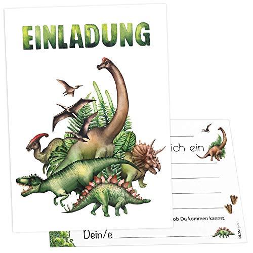 12 Einladungskarten Dinosaurier Kindergeburtstag Kinder Party Geburtstag-Einladungen zum ausfüllen (Dino Freunde)