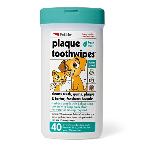 PETKIN FRESH MINT DOG & CAT PLAQUE TOOTH WIPES