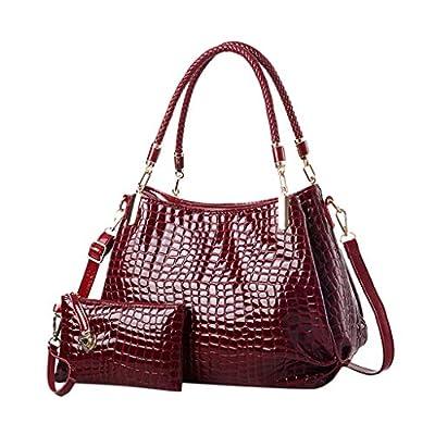 Women Messenger Bag for Women THENLIAN 2Pcs Women's Pure Color Shoulder Messenger Bags Crossbody Bag(Free, Wine)