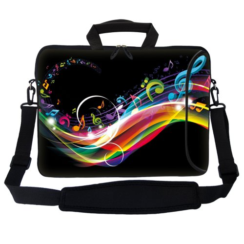 Meffort Inc 17 17.3 inch Neoprene Laptop Bag Sleeve with Extra Side Pocket, Soft Carrying Handle & Removable Shoulder Strap for 16' to 17.3' Size Notebook Computer - Rainbow Music Note