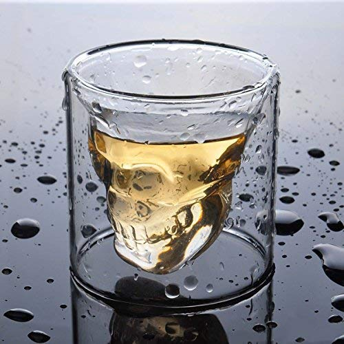 Sharemee - Copa de vino personalizable con diseño de calavera de cristal Taza de calavera, 80 ml.