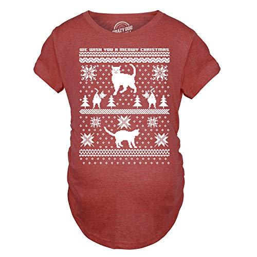 Crazy Dog Tshirts - Maternity 8 Bit Cat Butt Ugly Christmas Sweater Funny Expecting Pregnancy T Shirt (Red) - M - Femme