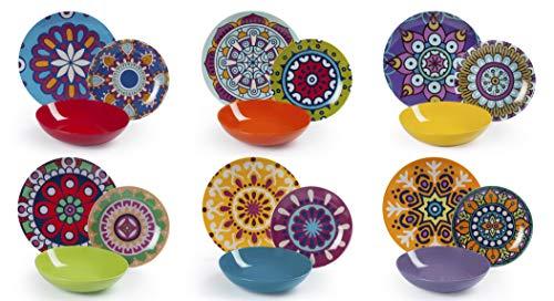 Excelsa Mandala Etno Servizio Piatti 18 Pezzi, Porcellana, Multicolore