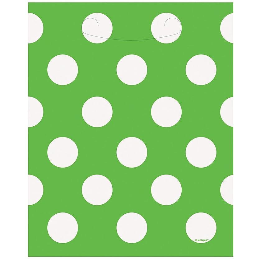 Lime Green Polka Dot Goodie Bags, 8ct