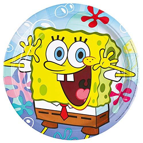 amscan 997773 8 Papierteller Spongebob, Mehrfarbig