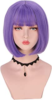 SinRany short Bob Straight Colored Fashion Halloween Party Wig For Women Girls (Purple)