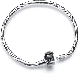 Daisy Jewelry Women Girls European Charm Bracelet for Bead Charms Stainless Steel Snake Chain