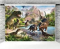 写真撮影のための新しい恐竜の背景7x5ftビニールポートレート写真の背景スタジオ小道具子供の誕生日パーティーの装飾