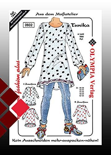 zugeschnittenes Schnittmuster von OLYMPIA für Damen-Oberbekleidung - 0932 Tunika in 3 Ärmelvarianten, Größe 36/38 bis 52/54 | Nähen nach Maß Atelier, Größe: 44/46