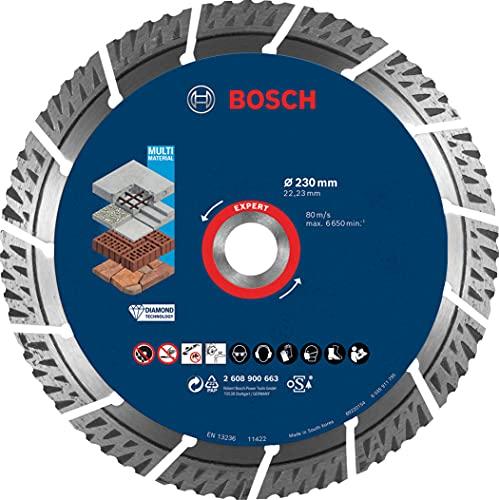Bosch Professional 1 x Discos de corte de diamante Expert MultiMaterial, para Hormigón, 230 mm, Accesorios Amoladora grande