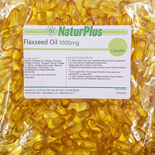 Flaxseed Oil Capsules 1000mg, 365 softgels by NaturPlus