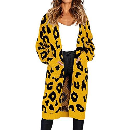 CUTUDE Cardigan Damen, Gestrickt Leopard Drucken Mantel Herbst Winter Jacke Coat Jacken (Gelb, L)