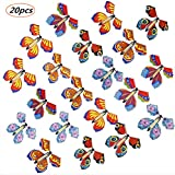Goging 20 Pieces Magic Fairy Flying Butterfly Rubber Band Powered Butterfly Wind up Fairy Butterfly Toy for Kids Girls Surprise Birthday Gift or Party Playing (Multicolor)