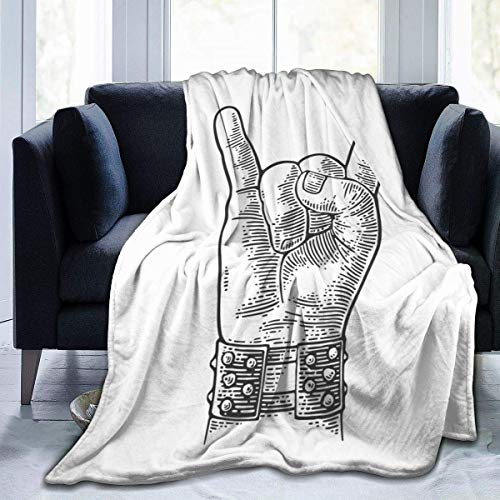 AEMAPE Manta de Tiro, Letrero de Mano de Rock and Roll, Pulsera con Pinchos de Metal Que le da al Diablo un Gesto de Cuernos, cálido y Acogedor, Tiro sofá Cama, sofá 50 x 40 Pulgadas
