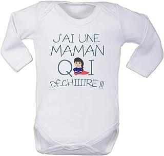 0//3 Mois 100/% Coton v/êtement Enfant Blanc Fille et gar/çon Body Manches Longues tatie Qui d/échire tatie