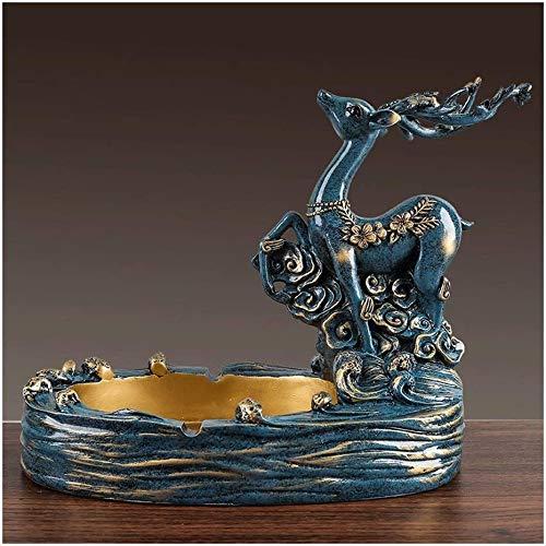 Cenicero de resina cenicero para interiores o exteriores, terraza, oficina y decoración del hogar, escritorio delicado artesanías decorativas,Blue