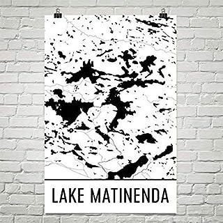 Modern Map Art Mapa de Lago Matineda, Lago Matineda Ontario, Canadá