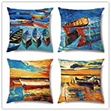 Funda de Cojine Set de 4 Funda de Almohada del Hogar Decorativa Sofá Throw Cojín Decoración Almohada Caso de la Cubierta para Sala de Estar sofás Paisaje de barco de mar,Super Soft(45x45cm/18x18inch)
