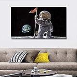 KWzEQ Gato Moderno Caminando sobre la Luna, Pintura Mural sobre Lienzo, Animal, póster de Sala de Estar,Pintura sin Marco,75x131cm