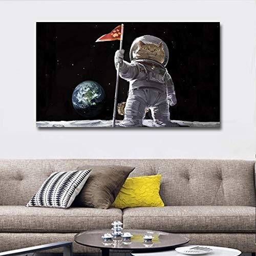 wtnhz Kein Rahmen Moderne Katze Walk On The Moon Malerei Drucke auf Canves Wandkunst Tierbilder für Wohnzimmer Poster und Drucke 60x110cm
