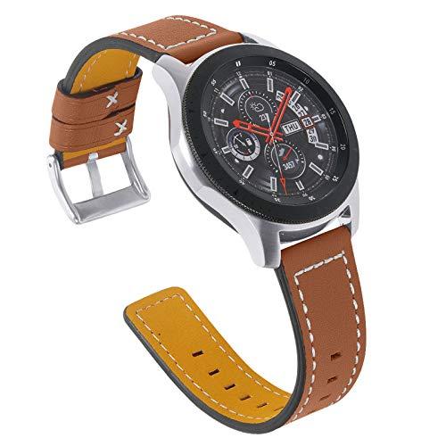 Pulsera para Galaxy Watch 46mm,Miya System Ltd Correa Delgada de Cuero Genuino con Hebilla de Metal para Galaxy Watch 46mm/Galaxy Watch 3 45mm/Gear S3 Frontier (M3)