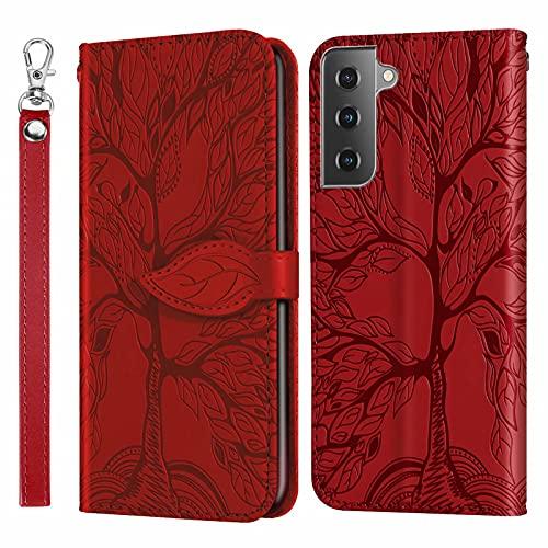 Nadoli Wallet Coque pour Samsung Galaxy S21 Plus,Creative Magnétique Dragonne Portefeuille Étui Housse Porte Cartes Fonction de Support à Rabat avec Feuilles Arbre Désign